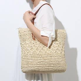 【A4対応】モチーフ編みトートバッグ(1R18-KB05) (ベージュ)