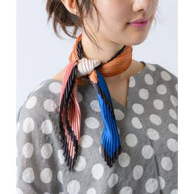 【Rewde】プリーツ配色スカーフ(0R18-ST7867) (ブルー)