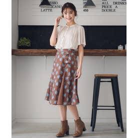 【Rewde】サイドスピンドールフラワーハギスカート(0R10-08147) (チャ)