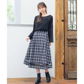 【Rewde】シアー切替チェックスカート(0R10-08176) (クロ)
