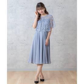 レース切替ドレス(0R04-21126) (ブルー)