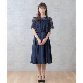 レース切替ドレス(0R04-21126) (ネイビー)