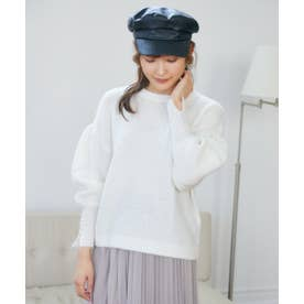 ボリューム袖ニット(0R14-10136) (シロ)