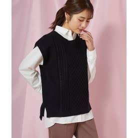 ニットベスト×シャツセット(1R11-12014) (クロ)