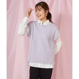 ニットベスト×シャツセット(1R11-12014) (ラベンダー)