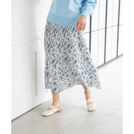 花柄プリーツスカート(1R10-02198) (ブルー)