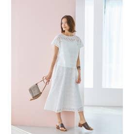 刺繍レースフレアスカート(1R10-04206) (シロ)