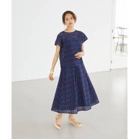 刺繍レースフレアスカート(1R10-04206) (ネイビー)