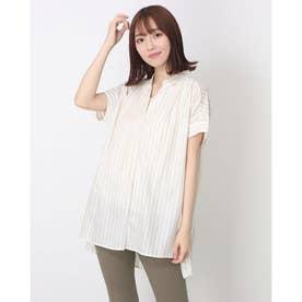 【再生繊維使用】タンクトップ付きスキッパーシャツ(1R13-1553) (シロ)