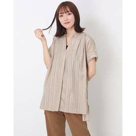 【再生繊維使用】タンクトップ付きスキッパーシャツ(1R13-1553) (ベージュ)