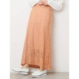 レースサイドボタンスカート オレンジ