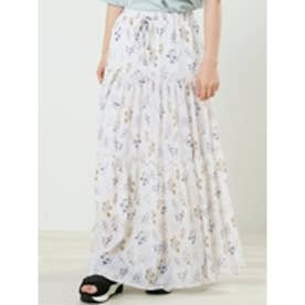 花柄楊柳ティアードスカート オフシロ