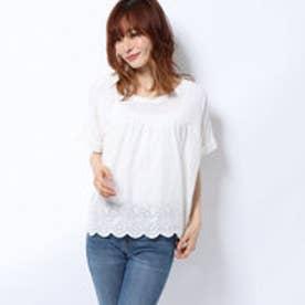 KK スカラップ刺繍Tシャツ (オフ白)