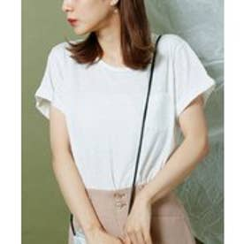 KST ポケット付裾ラウンドスラブTシャツ (オフ白)