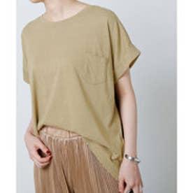 CRP 綿ポケット付Tシャツ (カーキ)