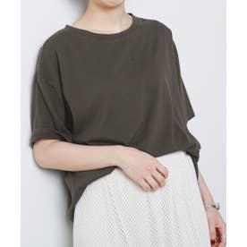 ZA ピグメント裾リブTシャツ (スミクロ)