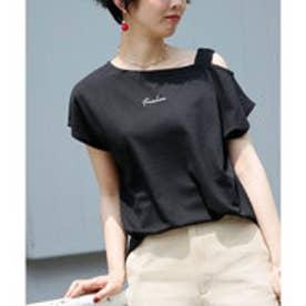 IF ワンショルロゴ刺繍Tシャツ (黒)