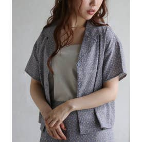 PS ウ゛ィンテージ小花柄コンパクト開襟シャツ (ブルー)