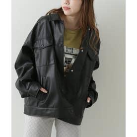 エコレザーカバーオールジャケット (黒)