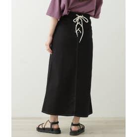 バックレースアップベイカーポケットスカート (黒)