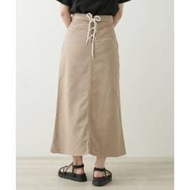 バックレースアップベイカーポケットスカート (サンドベージュ)