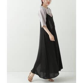 ヴィンテージサテン刺繍キャミワンピース (黒)