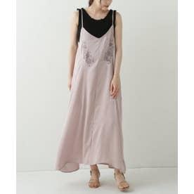 ヴィンテージサテン刺繍キャミワンピース (ピンク)