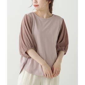 袖異素材プルオーバー (ピンク)