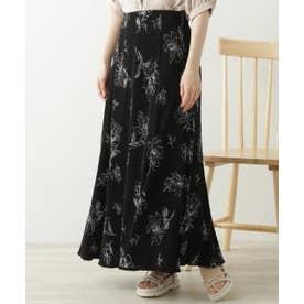 楊柳花柄ナロースカート (黒)