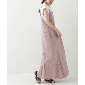 サテンワッシャーキャミワンピ×Tシャツ (ピンク)