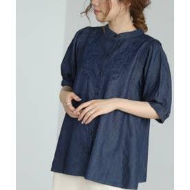 スパンブロード刺繍半袖ブラウス (ブルー)