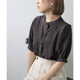 スパンブロード刺繍半袖ブラウス (スミクロ)