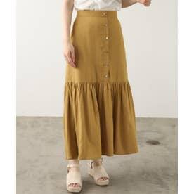 ONE フロントボタン裾フレアスカート (イエロー)