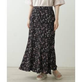 AND 花柄プリーツマーメードスカート (黒)