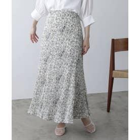 AND 花柄プリーツマーメードスカート (オフ白)