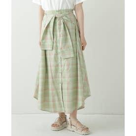 AND チェックシャツ巻きスカート (ミント)