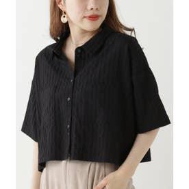 ストライプショートシャツ (黒)