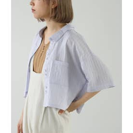 ストライプショートシャツ (パープル)