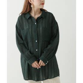 シアーチェックシャツ (グリーン)