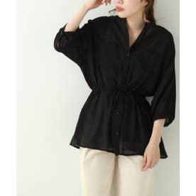 6分袖シアードロストシャツ (黒)