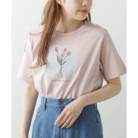 チューリッププリントTシャツ (ピンクベージュ)