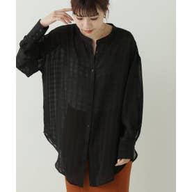 シアーチェック配色シャツ (黒)