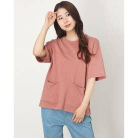 USAコットン ビッグポケットステッチTシャツ (ピンク)