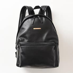 Metal plate Leather Backpack (ブラック)