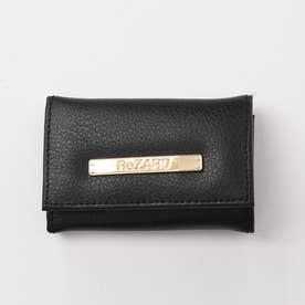 Metal plate Leather Key case (ブラック)