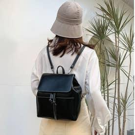 レディース バッグ かばん リュック リュックサック ミニリュック カジュアル バッグ シンプル 無地 (ブラック)
