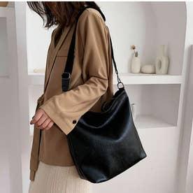 レディース バッグ かばん ショルダー ショルダーバッグ 斜めかけ 斜めかけバッグ シンプル 無地 (ブラック)