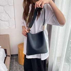 レディース バッグ かばん ショルダーバッグ ハンドバッグ ポーチ シンプル 無地 通勤 通勤バッグ (ブラック)