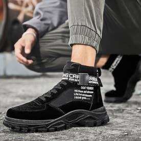 スニーカー メンズ 靴 ランニングシューズ 軽量 スポーツ スポーティ (ブラック)