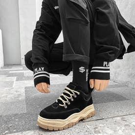 マウンテンブーツ メンズ ブラック スウェード ショートブーツ (ブラック)